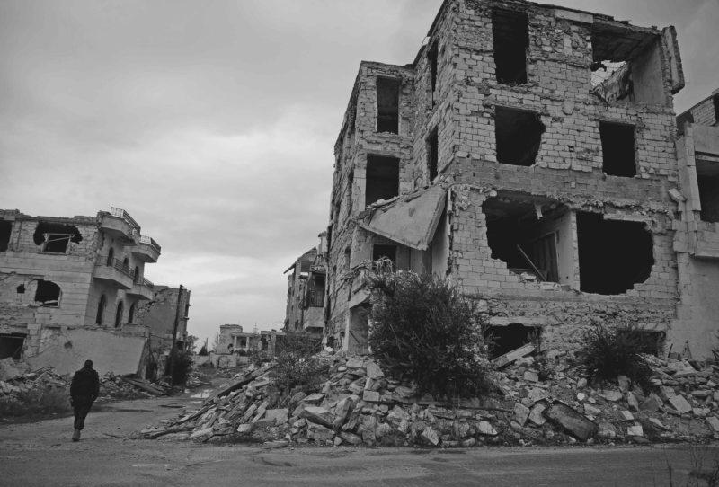Verwoeste wijk Idlib