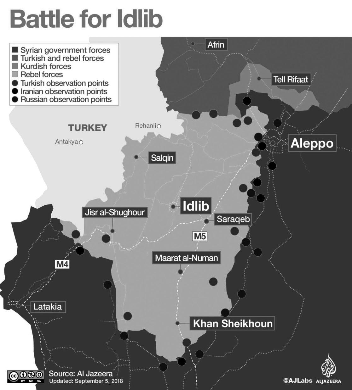 Kaart regio Idlib